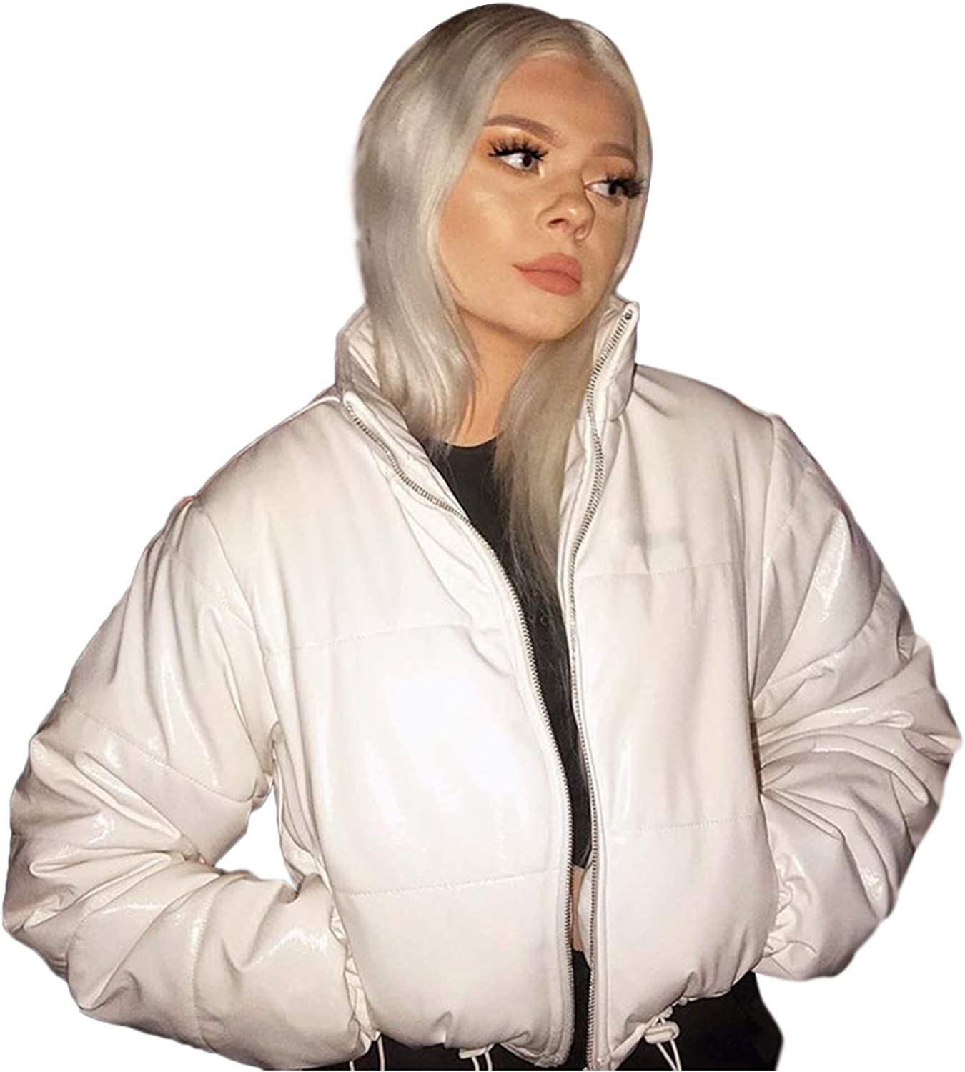 Winter Coats for Women Zip-up Cropped Puffer Jackets Coat Quilted Lightweight Padding Jacket Baseball Bomber