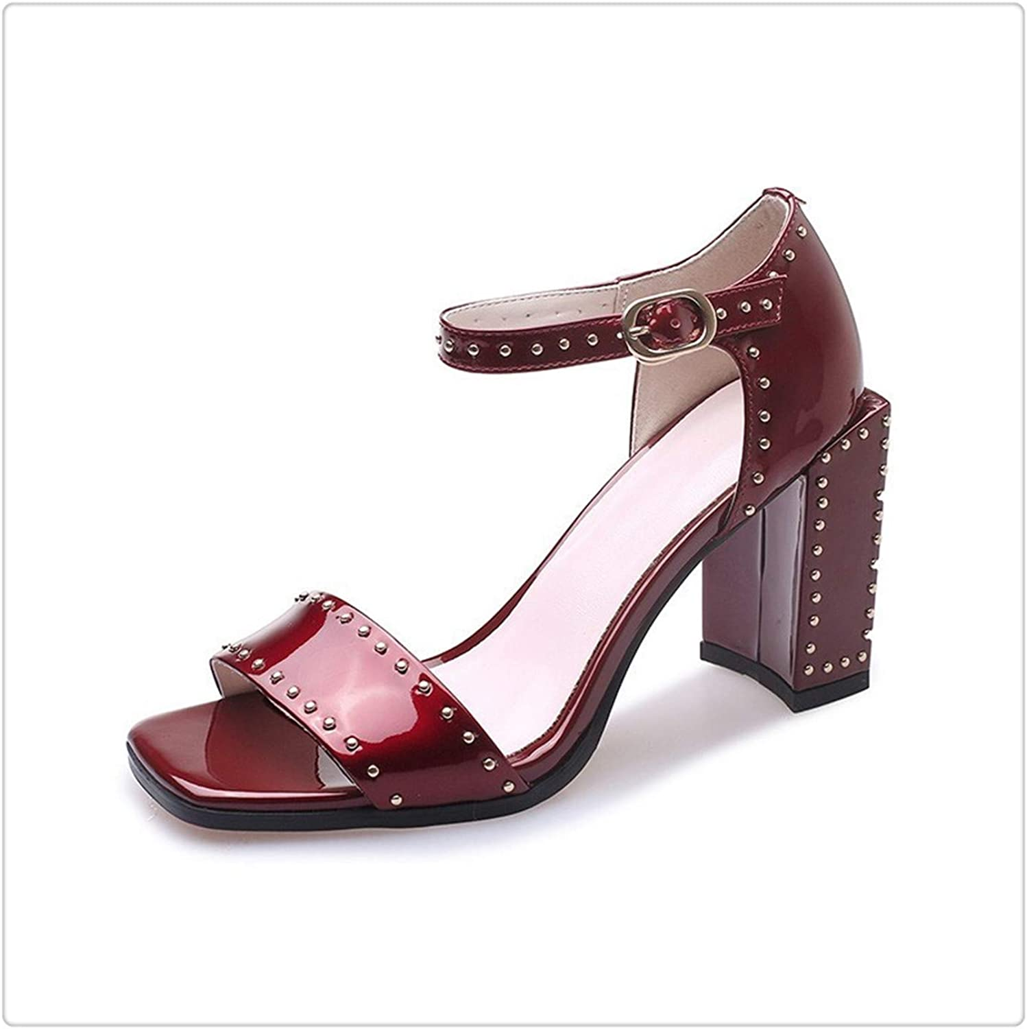 ANGERT& 2019 New Spring Summer Square Toe Pu Leather Buckle Strap Rivet Spliced SimpleHigh Heels Sandals Women Fashion 10SJ713 Wine red 37