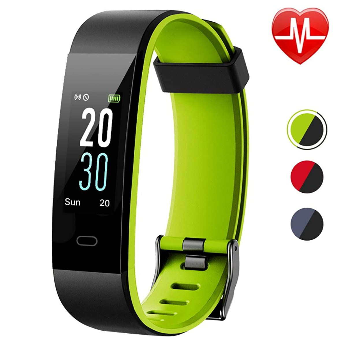 Lintelek Fitness Tracker Calorie Counter Heart Rate Sleep Monitor Pedometer, IP68 Waterproof Activity Tracker Connected GPS Odometer SNS Alarm Alert 14 Sports Modes 2019 Updated Version Men Women Kids