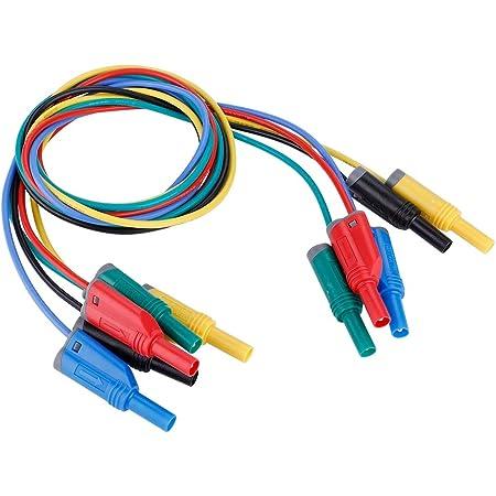 Akozon Banana Plug Kabel 5pcs Elektronische Test Leads Kit P1050 1 4mm Bananenstecker Sicherheit Soft Silicone Wire Stack Prüfkabel 14awg Verlängerungskabel Multimeter Test Kabel Set Beleuchtung