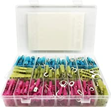 270 PCS Heat Shrink Connectors (Grade A) Marine Automotive Electrical Insulated Crimp Wire Terminal Kit - Thick Metal, Butt Ring Fork Hook and Male Female Quick Disconnect
