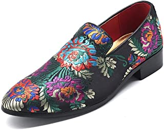 XinQuan Wang Embroidery Oxfords for Men Slip-on Loafers Cloth Flower Pattern Pointed Toe Vintage Colors Non-Slip Lightweight Soft Block Heel (Color : Multicolor, Size : 5.5 UK)