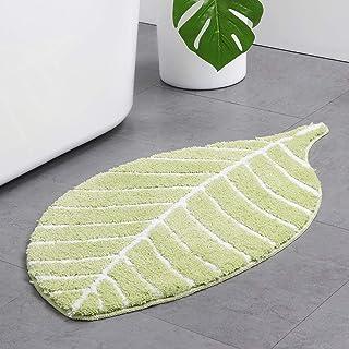 Cute Doormat for Kids - Microfiber Absorbent Bathroom Mats - Front Door Mat Carpet Floor Rug, Leaf Shape