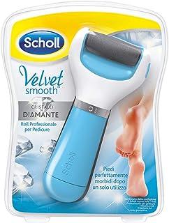 Scholl Velvet Smooth Roll Pedicure Elettrico Professionale per Pelle Secca e Talloni Screpolati, Azzurro, con Cristalli di...