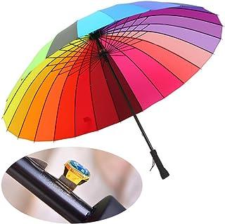 meizhouer 24k Rib Large Color Rainbow Umbrella Fashion Long Handle Straight Anti-UV Sun/Rain Stick Umbrell