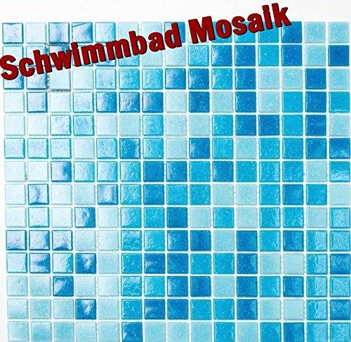 Mosaik-Netzwerk Mosaikfliese Quadrat mix hellblau/blau Schwimmbad Mosaik Poolmosaik Glasmosaik vorderseitig Papier verklebt, Mosaikstein Format: 20x20x4 mm, Bogengröße: 327x305 mm, 10 Bögen