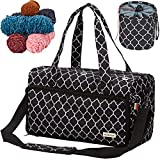 NICOGENA Knitting Bag, Large Capacity Portable Yarn Storage Tote for Yarn Skeins and Accessories Tangle Free with Mini Yarn Drum and 3 Reinforced Grommets, Lantern Black