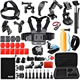 BAXIA TECHNOLOGY 44-in-1 Accessories for GoPro HERO 5 Session 4 3+ 3 2 1 Black Silver SJ4000/50…