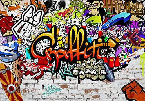 decomonkey Fototapete selbstklebend Graffiti Jugendzimmer 245x175 cm XL Selbstklebende Tapeten Wand Fototapeten Tapete Wandtapete klebend Klebefolie Street art
