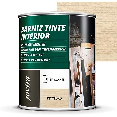 BARNIZ TINTE INTERIOR BRILLANTE, (6 COLORES), Barniz madera, Protege la madera, Decora y embellece la madera. (750ML, INCOLORO)