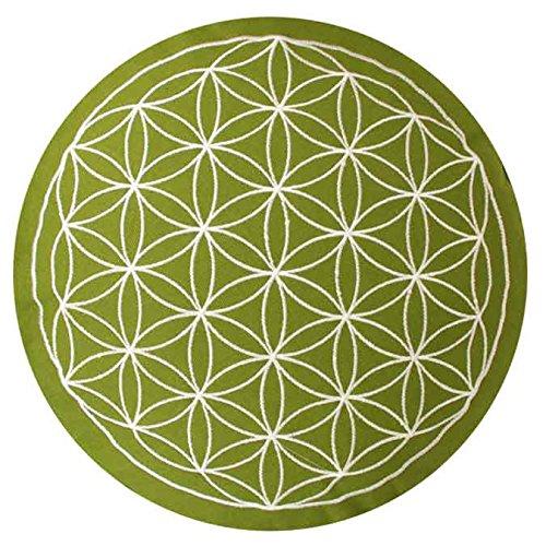 maylow Yoga mit Herz® - Yogakissen Meditationskissen mit Stickerei Blume des Lebens 33x15 cm (erhöhte Sitzposition für Anfänger und Geübte) mit Dinkelspelz gefüllt - Bezug und Inlett 100% Baumwolle