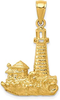 14k Yellow Gold Lighthouse Pendant Charm Necklace Sea Shore Man Fine Jewelry For Dad Mens For Him