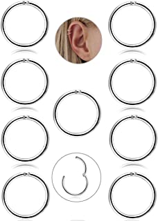 9 Pcs Stainless Steel 16g Cartilage Hoop Earrings for Men Women Nose Hoop Ring Helix Septum Conch Daith Lip Tragus Piercing Jewelry