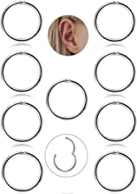 FIBO STEEL 9 Pcs Stainless Steel 16g Cartilage Hoop Earrings for Men Women Nose Hoop Ring Helix Septum Conch Daith Lip Tragus Piercing Jewelry