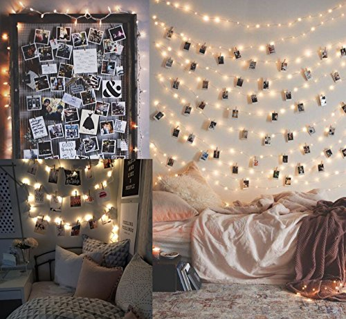 Lemonfilter Photo Clip String Lights 33Ft 100 LED, Led Fairy String Lights with 50 Wood Photo Clips for Pictures Waterproof Battery Powered for Wedding, Bedroom, Dorm, Wall Decor (Warm White)