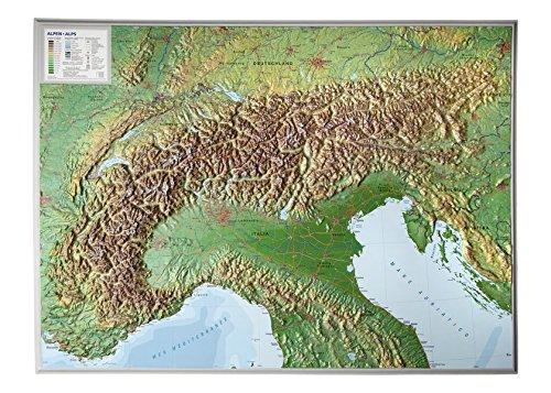 Alpen 1:1.2MIO ohne Rahmen: Reliefkarte vom Alpenbogen (Tiefgezogenes Kunststoffrelief)