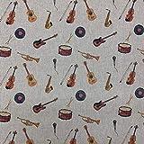 Musical Instruments Digital Print Design Baumwolle Rich