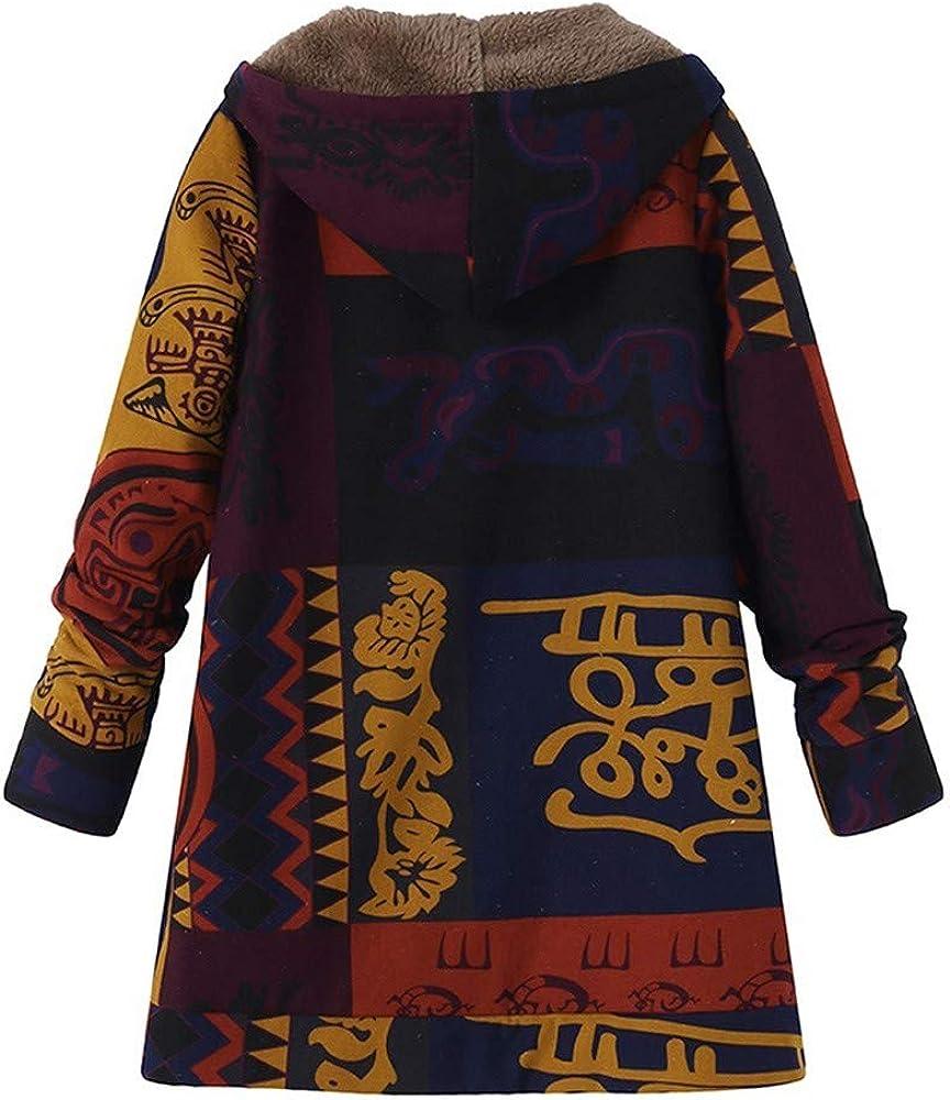KaloryWee 2018 Damen Übergröße Frauen mit Kapuze Langarm Baumwolle Leinen Flauschigen Pelz Reißverschluss Mantel Outwear Winterjacke Blau