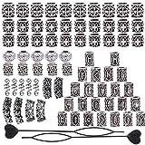 75 Unids Dreadlocks Beads Accesorios de 9 Estilos Metal Dreadlocks Beads Beiding Silver DIY Trenzado Hair Braid Jewelry