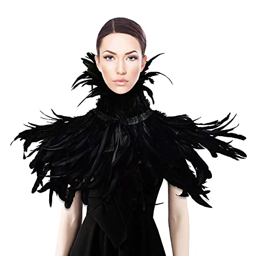 1ea7ce815b26e Homelix Gothic Black Natural Feather Cape Shawl With Choker Collar