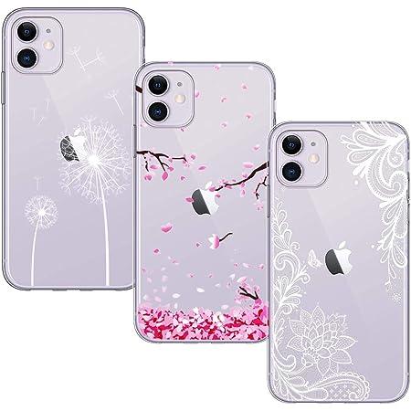Yoowei [3-Pack] Cover per iPhone 11 Trasparente con Disegni, Morbida Silicone Ultra Sottile TPU Gel Custodia Protettiva per iPhone 11, Fiore Bianco ...