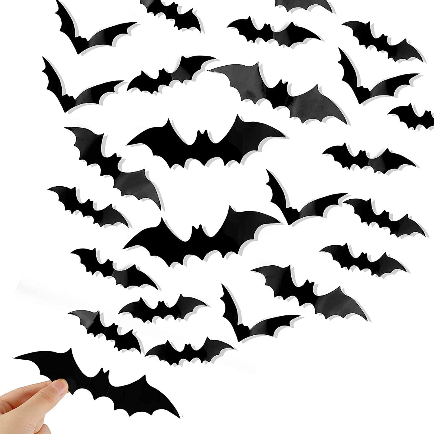 Boston Mall 72Pcs Halloween 3D Bats Decoration Shipping included 4 PVC Scary Sizes Realistic