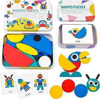 Coogam Wooden Pattern Blocks - Tangram Shape Puzzle Set Color Sorting Stacking Game Wood Animal Jigsaw Preschool Montessori Brain Teaser STEM Gift for 3 4 5 Years Old Toddler Kid (60 Pattern Cards)