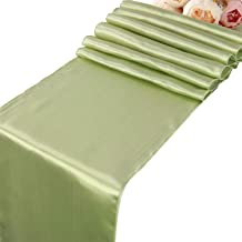 Sage Satin Table Runners - 10 pcs Wedding Banquet Party Event Decoration Table Runners (Sage, 10)