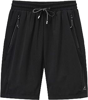 MakingDa Men's Shorts Summer Casual Sports Joggers Gym Shorts Loose Fit Elastic Waist Zip Pockets