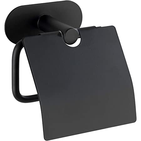 WENKO Dérouleur de papier hygiénique Turbo-Loc avec couvercle Orea Black Mat, fixation sans percer de trous, porte-rouleaux de papier avec couvercle pour la protection, noir mat, 14 x 12,5 x 7 cm