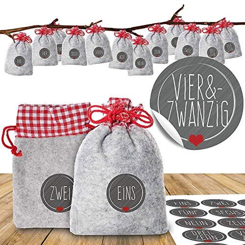 """Adventino Adventskalender zum Befüllen – mit 24 weihnachtlichen Filzbeuteln und Zahlen-Aufklebern """"Schick und Grau"""" für Männer, Frauen und Paare"""