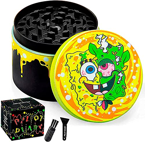 """PILOTDIARY Herb Grinder Aluminum 4 Piece Spice Grinder with Pollen Catcher Color Painting 2"""", Yellow"""