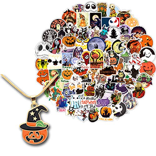 Kilmila Stickers for Happy Halloween Horror Chistmas 100Pcs (with Horror Pumpkin Nceklace).Gifts Halloween Horror Merch Party Supplies Chistmas Stickers Gifts Skateboard Guitar Bicycle Stickers