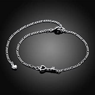 KUYIUIF 925 Sterling Silver Adjustable Anklet Barefoot Sandal Beach Foot Chain Cute Love Key Zircon Pendant Adjustable Chain Anklet Bracelet