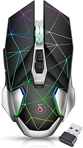 Offbeat®- Ripjaw Alpha Gaming Series 2.4gh Wireless Rechargeable, 8D Silent Clicks, DPI 1600,2400,3200 Mouse for Pc/L...