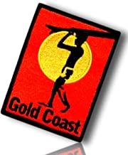 "Unique & Custom {2.5"" x 3.5"" Inch} 1 of [Glue-On, Iron-On & Sew-On] Embroidered Applique Patch Made of Natural Cotton w/Gold Coast Australia Surfer Silhouette Beach {Red, Yellow, Black} + Certificate"