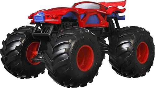 Hot Wheels Monster Trucks Marvel Spiderman, voiture aux roues géantes, véhicule échelle 1:24, jouet pour enfant, GTJ33