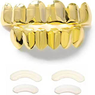 Gold Grillz 6 Teeth Mouth 24K Plated Gold Top & Bottom Grills Caps Set for Son + Extra Molding Bars + Microfiber Cloth