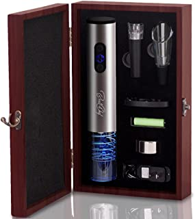 Premium Electric Wine Opener Set in Wooden Case Wine Bottle Opener Extracts Corks from Wine Bottles in Mere Seconds - Includes Foil Cutter, Wine Pourer and Vacuum Wine Stopper – by Best4Chef