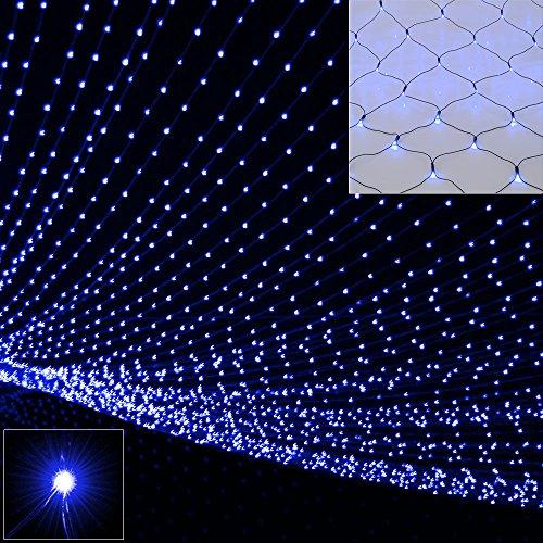 Deuba Netzlichterkette 160 LEDs Blau Indoor Outdoor Batteriebetrieben 8 Leuchtmodi Garten Balkon Beleuchtung 1,5 x 2 m