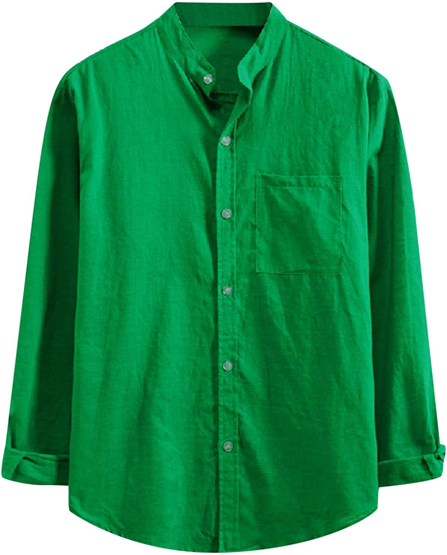 Huangse Men's Casual Dress Shirt Banded Collar Long Sleeve Button Down Shirt Cotton Linen Beach Yoga Shirts with Pocket
