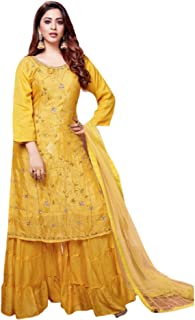 سلوار أصفر هندي بوليوود ديزاينز جورجيت مستقيم قميص شارا جارا للنساء العيد الخاص 5976