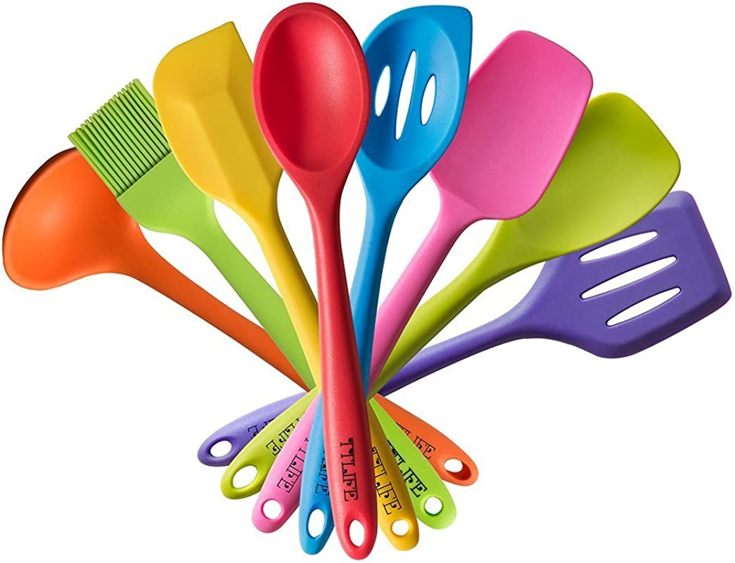 TTLIFE Rainbow Colored Dish Set Silicone Spatula Utensil Kitchen Colorful 8 Pieces With Turner Slotted Spoon Ladle Spoon Spoon Spatula Spooula Spatula Basting Brush For Cooking Baking BBQ