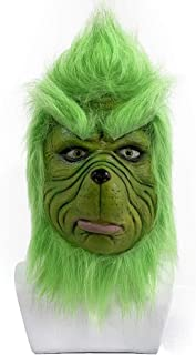 Grinch Mask Latex Plush Green Suit Christmas Holiday Party Halloween Cosplay Costume Props