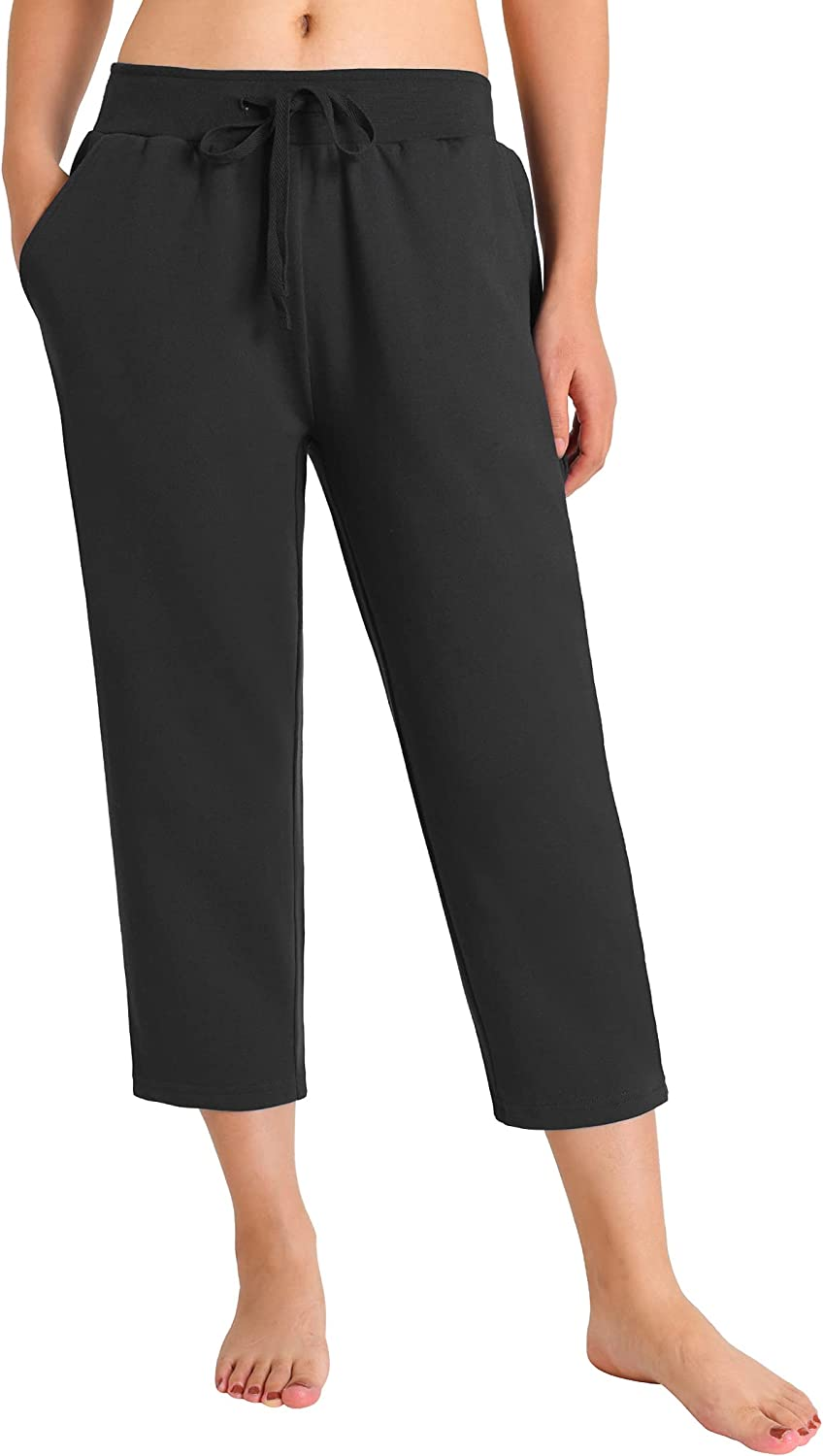 Weintee Women's French Terry Capris with Pockets