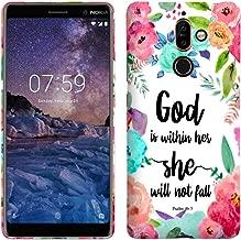 Glisten - جراب بلاستيكي صلب مصمم لهاتف Nokia 7 Plus - God is Within her she Will not fall - Psalm 465 غطاء خلفي أنيق
