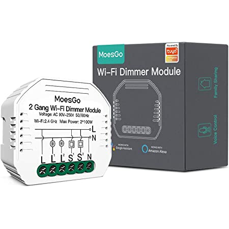MoesGo Mini 2 Gang Modulo smart WiFi fai da te per interruttori, modello nascosto, per luci LED dimmerabili, compatibile app Smart Life/Tuya,compatibile con Alexa Echo e Google Home,1/2 way