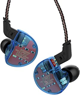 KZ ZS10 Five Drivers in Ear Monitors High Resolution Earphones/Earbuds with Detachable Cable,Without Mic, Blue