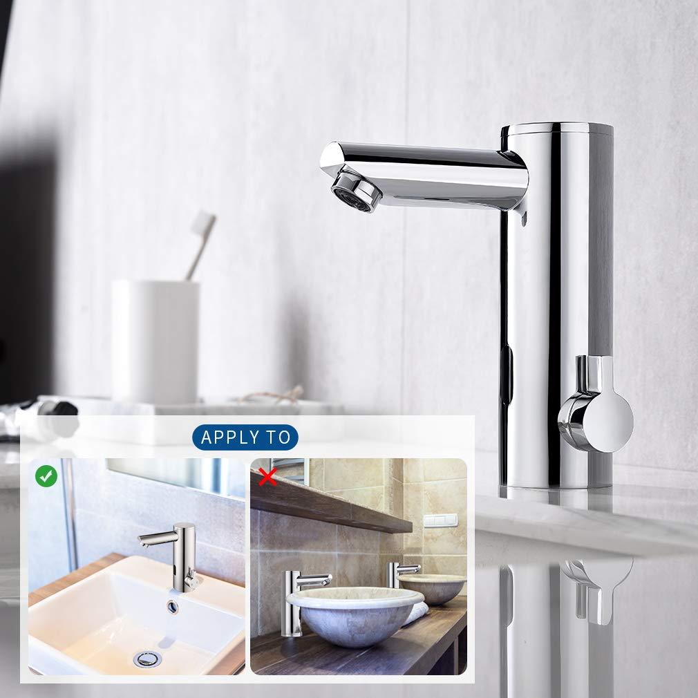 KAIBOR Infrarot Sensor Wasserhahn Bad, Chrom Automatik Waschtischarmatur  Badarmatur Einhebelmischer Waschbecken Mischbatterie Waschtisch Armatur für
