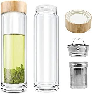 COMI Tea Glass Bottle Double Wall Glass Borosilicate with Infuser Bottle for Green Tea Coffee Fruit Flower Tea Double Mesh Filter 400ml,14 OZ/350ml,12 OZ